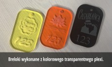 Breloki akrylowe grawerowane